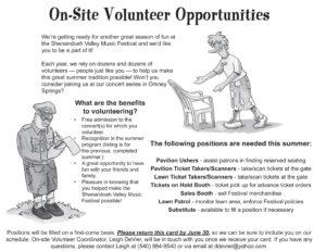 Updated Volunteer info